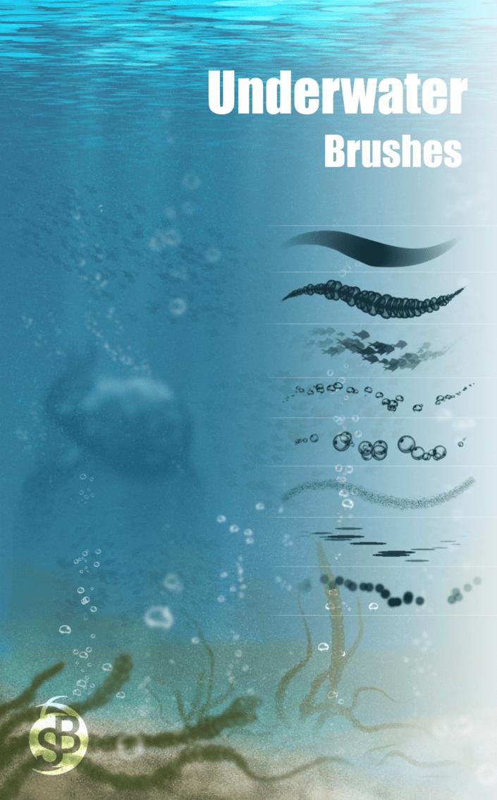 免费的水中气泡波纹效果Photoshop笔刷素材 水泡笔刷 气泡笔刷  water brushes