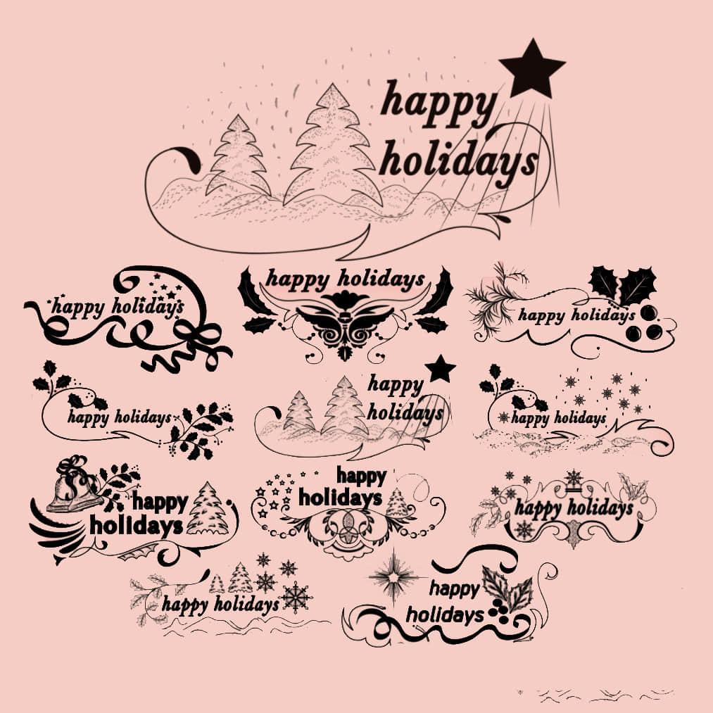 圣诞节图案花纹photoshop笔刷素材下载