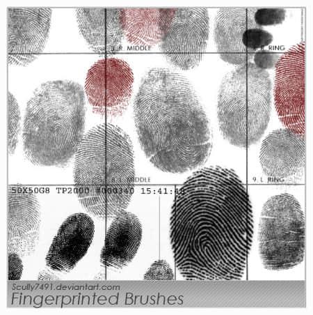 多种手指指纹痕迹photoshop笔刷素材