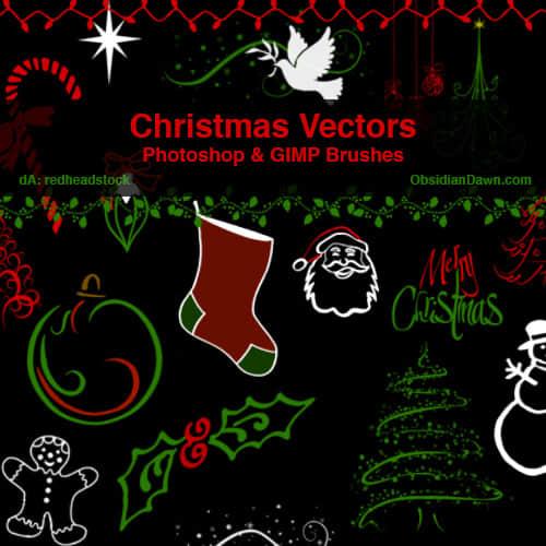圣诞节卡通涂鸦素材PS笔刷下载