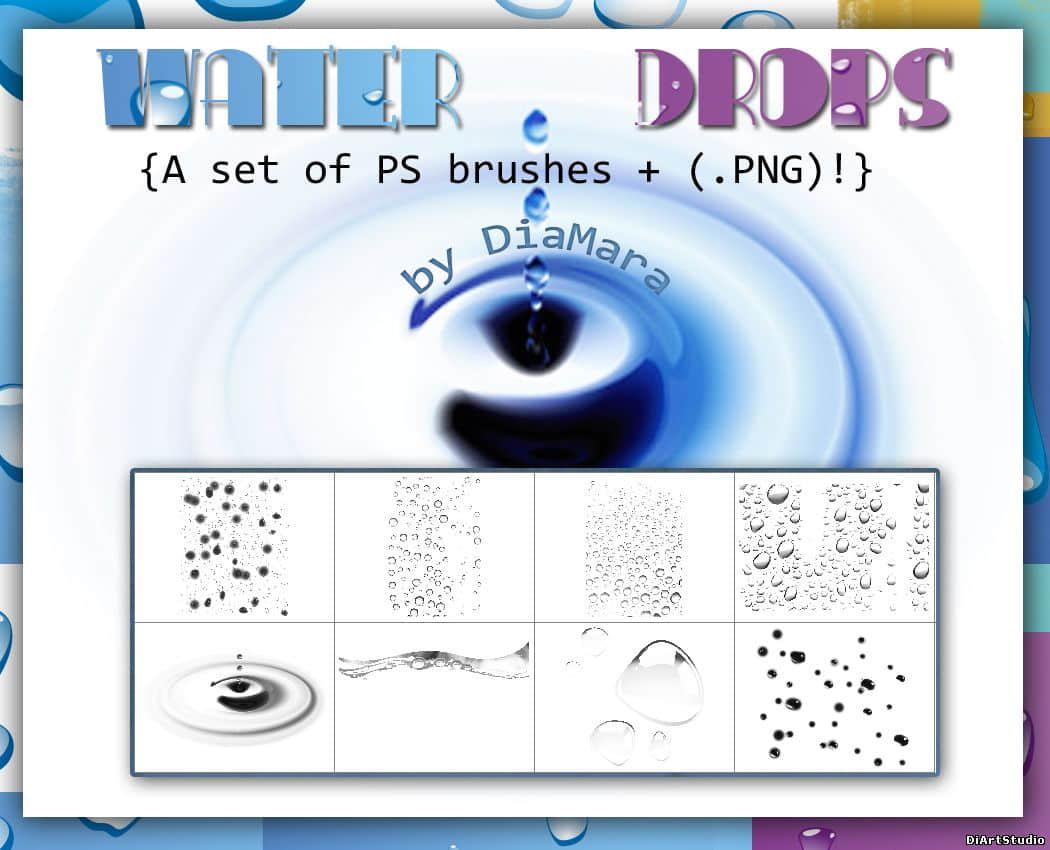 高分辨率水滴、露珠、水珠子Photoshop笔刷素材 露珠笔刷 水珠子笔刷 水滴笔刷  water brushes