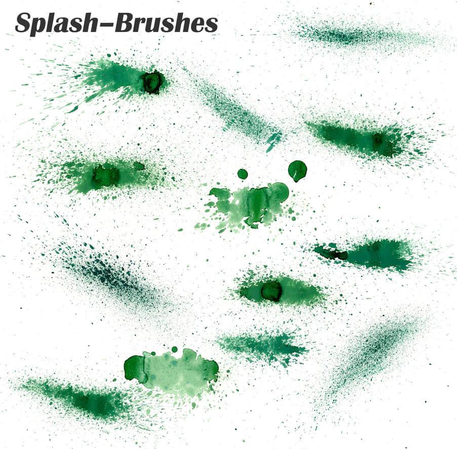 油漆水墨喷洒、喷溅效果photoshop笔刷素材 油漆喷溅笔刷 油墨喷洒笔刷 水墨喷溅笔刷  photoshop brush