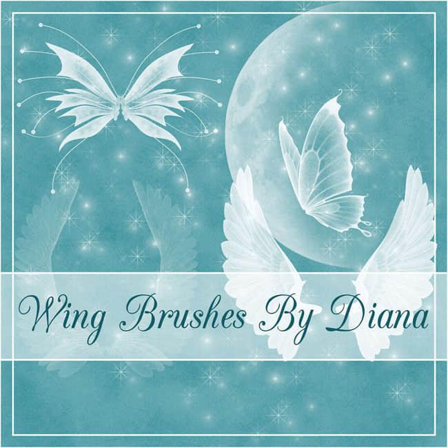 梦幻的蝴蝶、天使、精灵翅膀photoshop笔刷素材