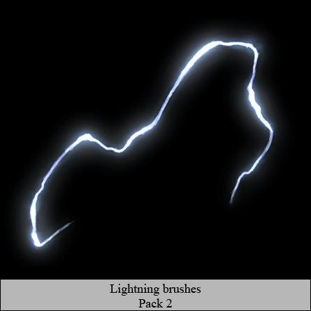 弧形闪电效果PS笔刷素材 闪电特效笔刷  lightning brushes
