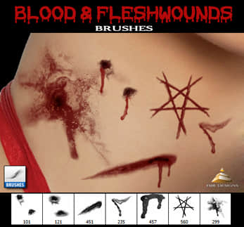 血洞、血痕、伤口photoshop笔刷素材