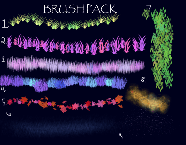 CG式植物青草效果Photoshop笔刷素材 青草笔刷 树叶笔刷  plants brushes
