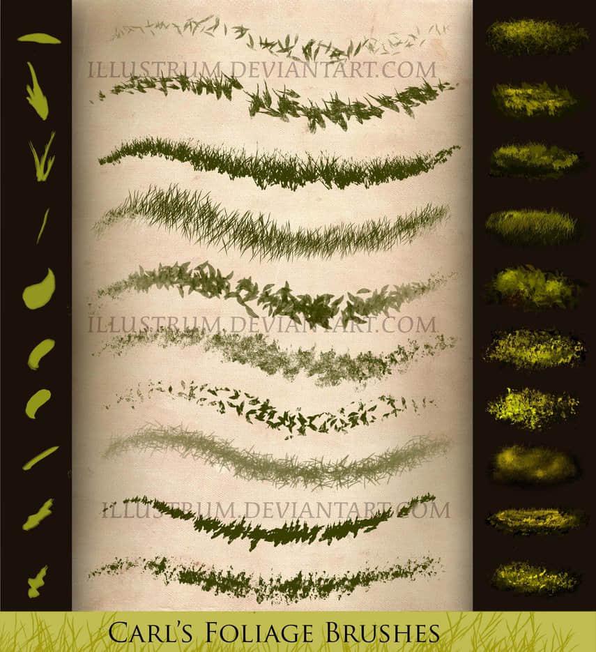 CG插画绘画的青草、草地photoshop笔刷素材