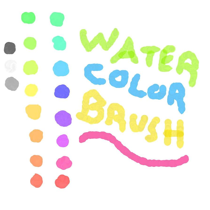 简洁的水彩笔触photoshop画笔素材 笔触笔刷 水彩笔刷  photoshop brush