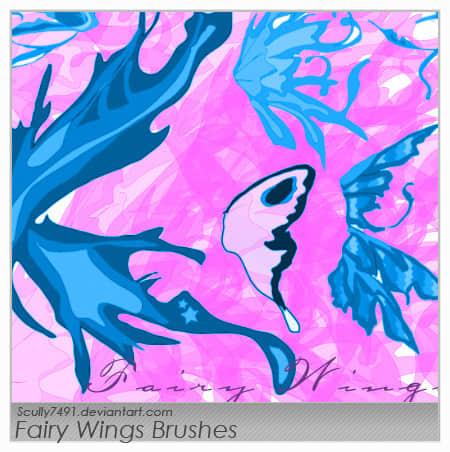 卡通蝴蝶翅膀、通话精灵翅膀、性感妖精翅膀photoshop笔刷素材 蝴蝶翅膀笔刷 精灵翅膀笔刷 妖精翅膀笔刷 卡通翅膀笔刷  wings brushes