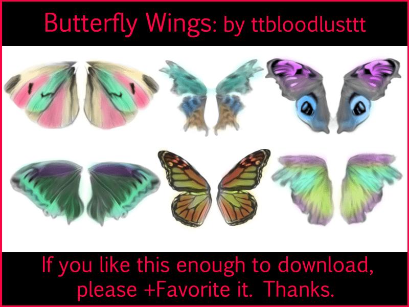6对漂亮的蝴蝶翅膀photoshop笔刷素材 蝴蝶笔刷  wings brushes