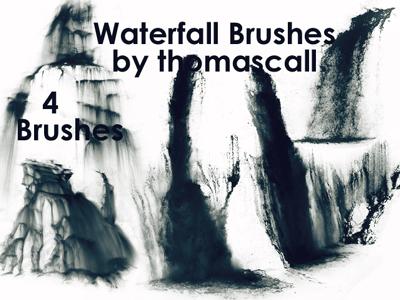 简单的瀑布流水效果Photoshop笔刷素材#.2 瀑布笔刷 瀑布流水笔刷  water brushes