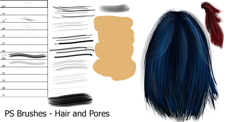 专业的CG毛发、头发笔触photoshop笔刷素材