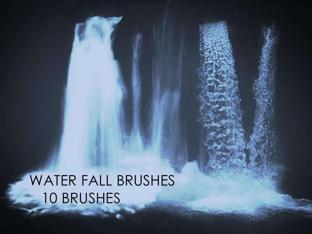 真实的10种瀑布流水效果Photoshop笔刷素材下载 瀑布笔刷  water brushes