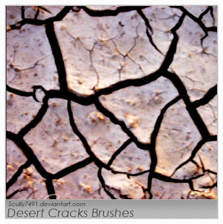 土地干涸、河床干裂效果photoshop笔刷素材下载