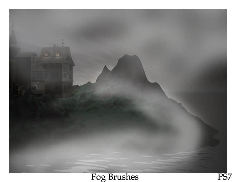 清晨浓雾弥漫、大雾天气、雾霾效果PS笔刷素材