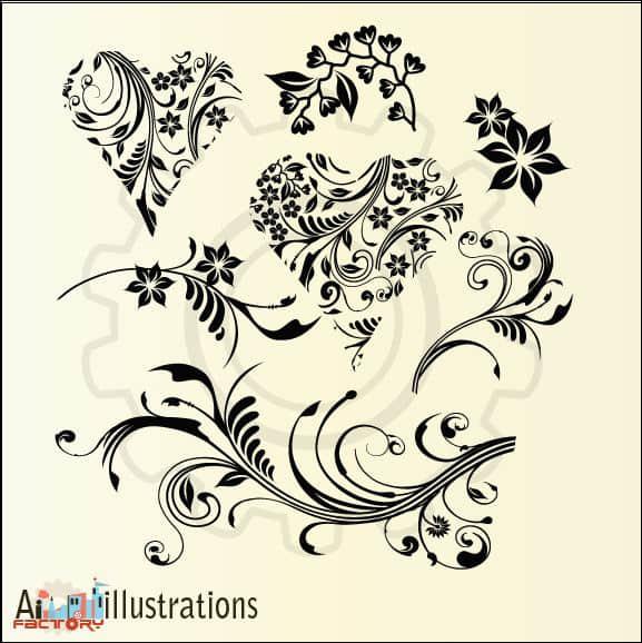 优美的植物艺术花纹图案PS笔刷下载