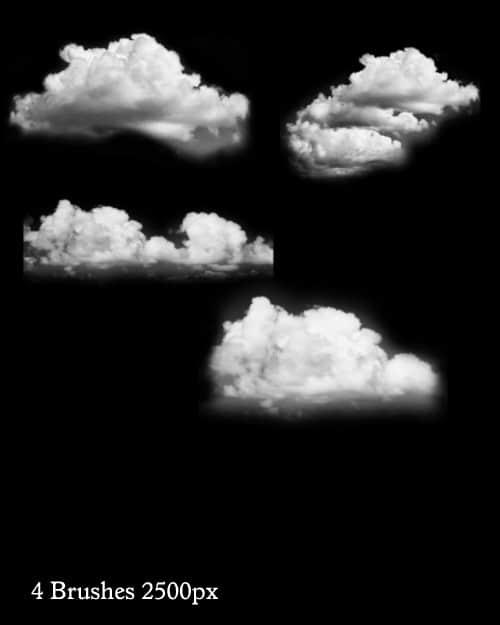 4个真实高分辨率蔚蓝天空白云photoshop笔刷