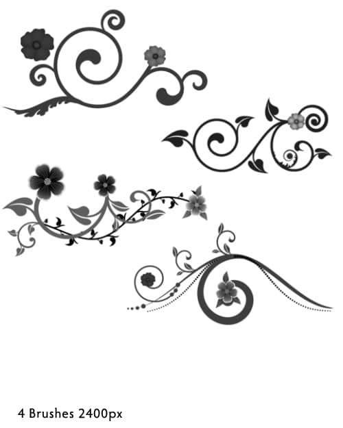高清矢量艺术植物花纹photoshop笔刷素材