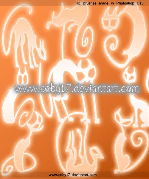 手绘涂鸦时尚艺术猫图案photoshop笔刷