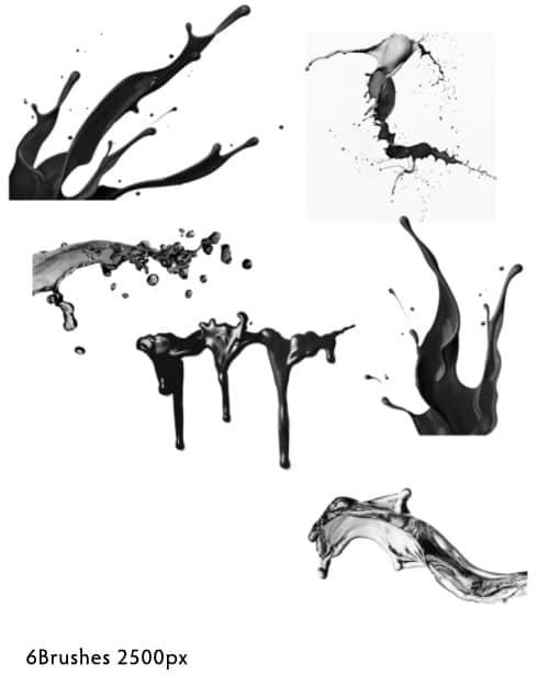 油漆液体、乳胶液体、牛奶液体泼洒photoshop笔刷