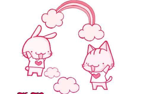 可爱卡通小白兔与小猫咪PS笔刷素材