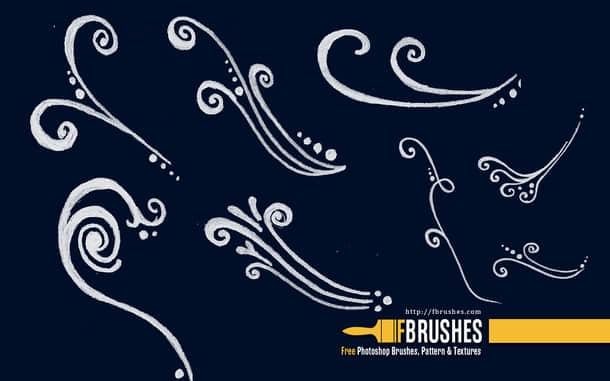 手绘式花纹线条艺术photoshop笔刷素材下载