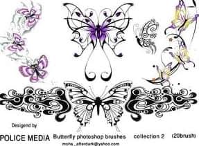 蝴蝶式花纹艺术装饰图案PS笔刷素材