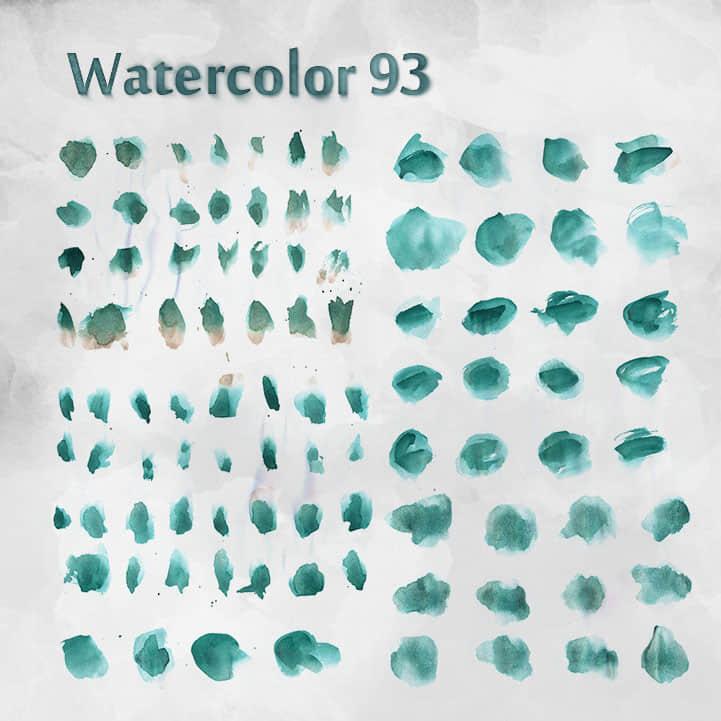 93个免费的水彩效果photoshop笔刷素材