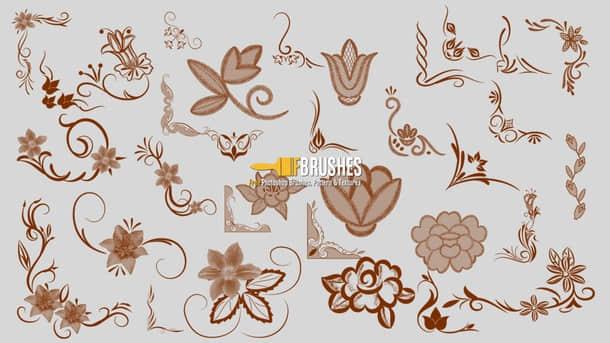 花卉装饰设计印花图案PS笔刷素材
