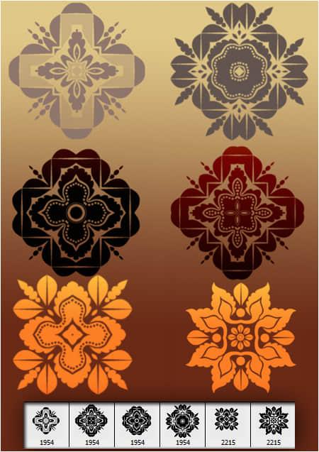 漂亮的复式花纹图案装饰photoshop笔刷素材