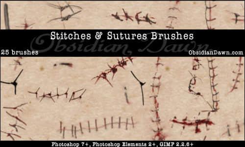 伤口缝合效果、伤痕、伤疤photoshop笔刷素材