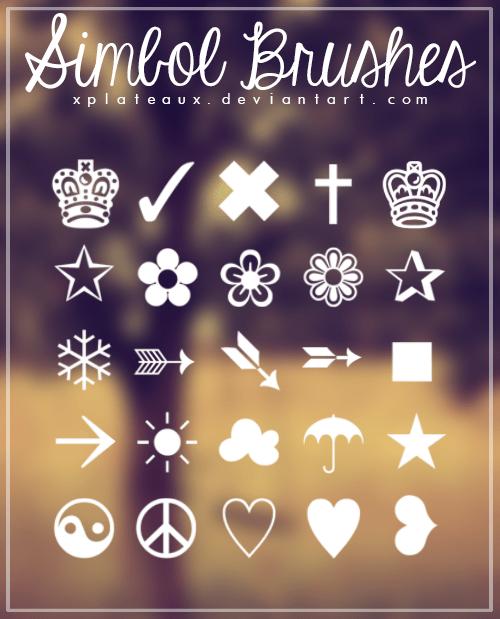 皇冠、小花、红心等可爱元素符号PS笔刷素材