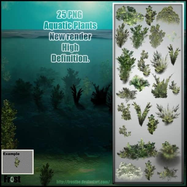 CG式海底水草图案素材PS笔刷