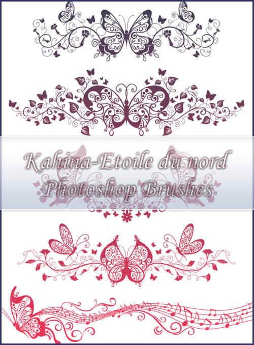 绝美的蝴蝶艺术剪纸式植物花纹图案PS笔刷素材