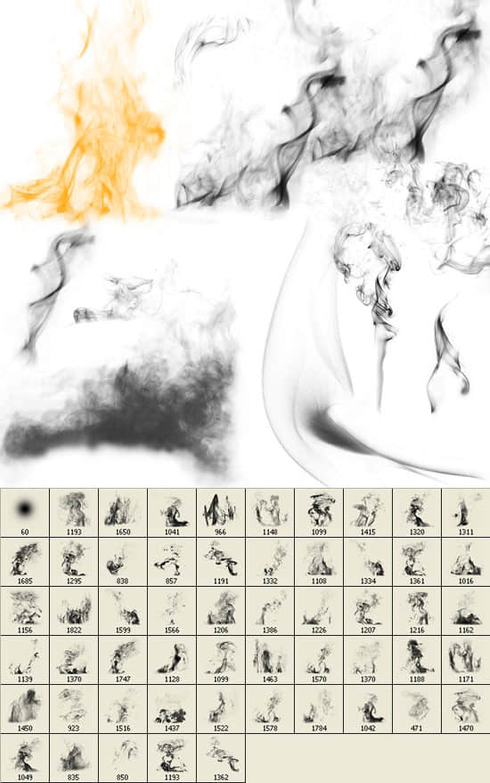 超大高清多种烟雾产生效果photoshop笔刷素材 烟雾笔刷  flame brushes