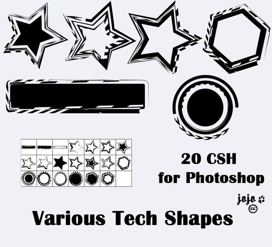 涂鸦式五角星photoshop自定义形状素材下载