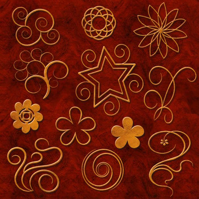 漂亮的立体效果纹理花纹photoshop自定义形状素材下载