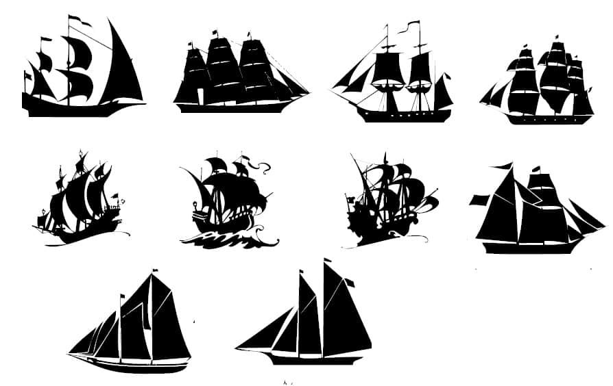 帆船剪影图案photoshop笔刷素材下载