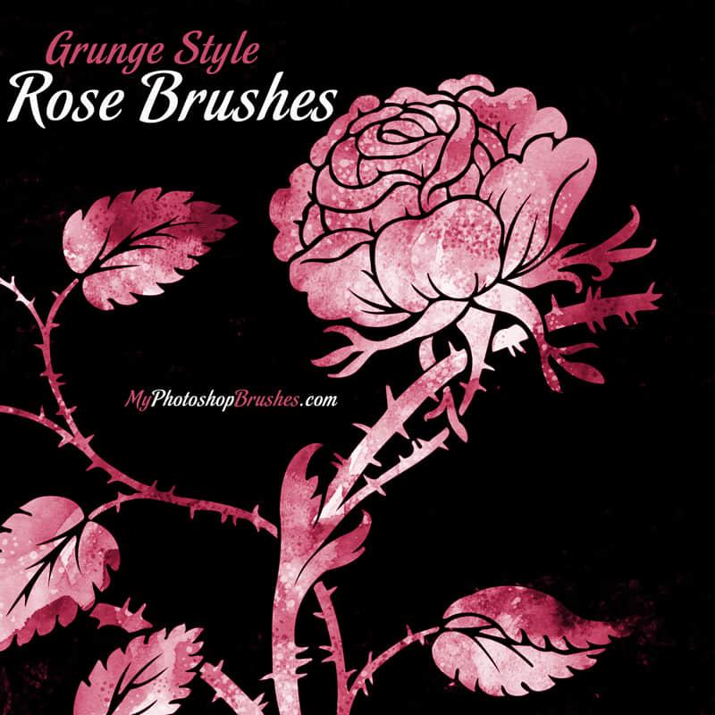 免费高品质玫瑰花图案PS素材笔刷下载