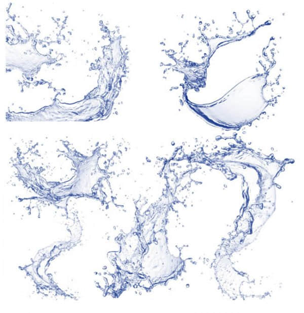 多种水花、溅水、水面拍打效果PS笔刷素材下载