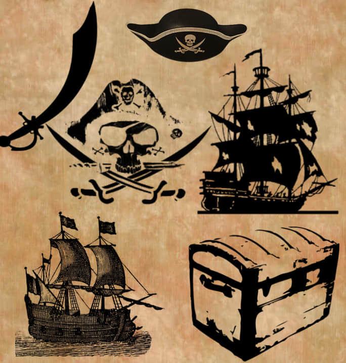 海盗船、藏宝箱、海盗帽、海盗骷髅头等元素photoshop笔刷