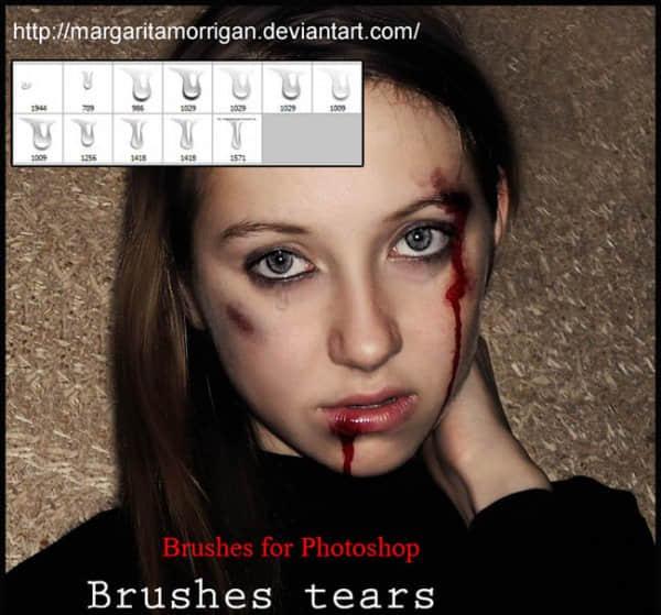 逼真的眼泪、泪水、流眼泪效果photoshop笔刷素材