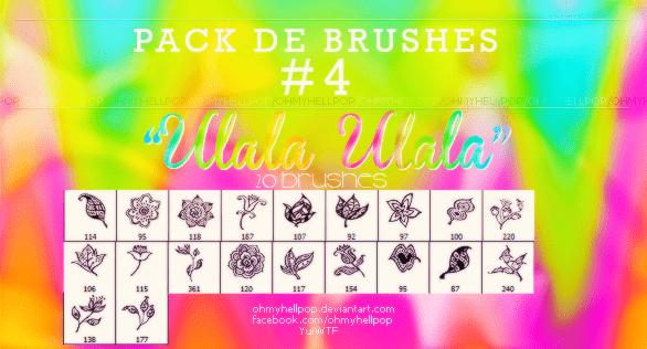 20种手绘古典艺术式绿叶、鲜花花朵photoshop笔刷素材