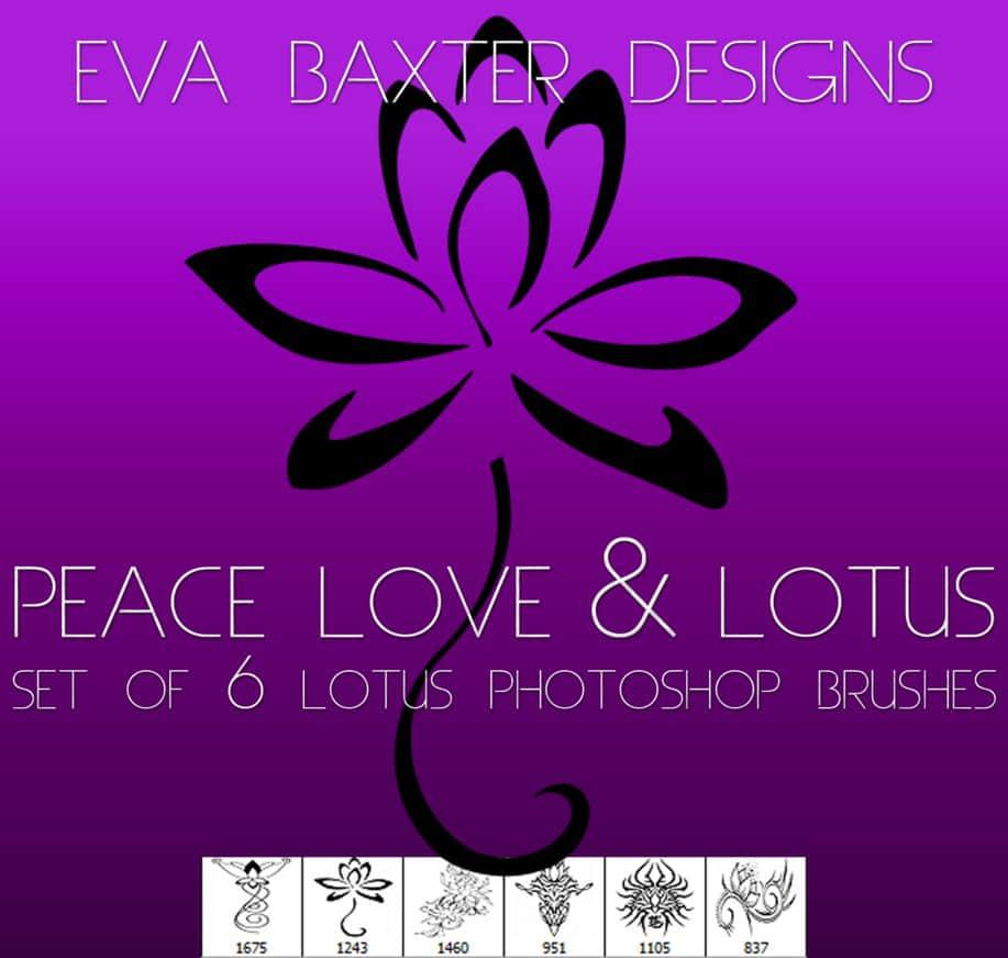 漂亮的莲花、荷花花纹图案、印花PS笔刷下载