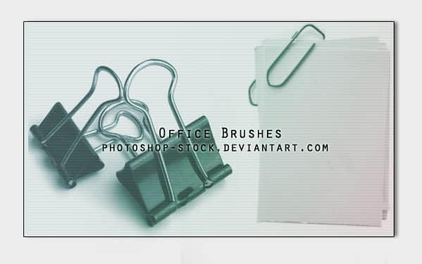夹子、回形针、剪刀、圆珠笔、订书机、卷笔刀、美工刀photoshop笔刷素材