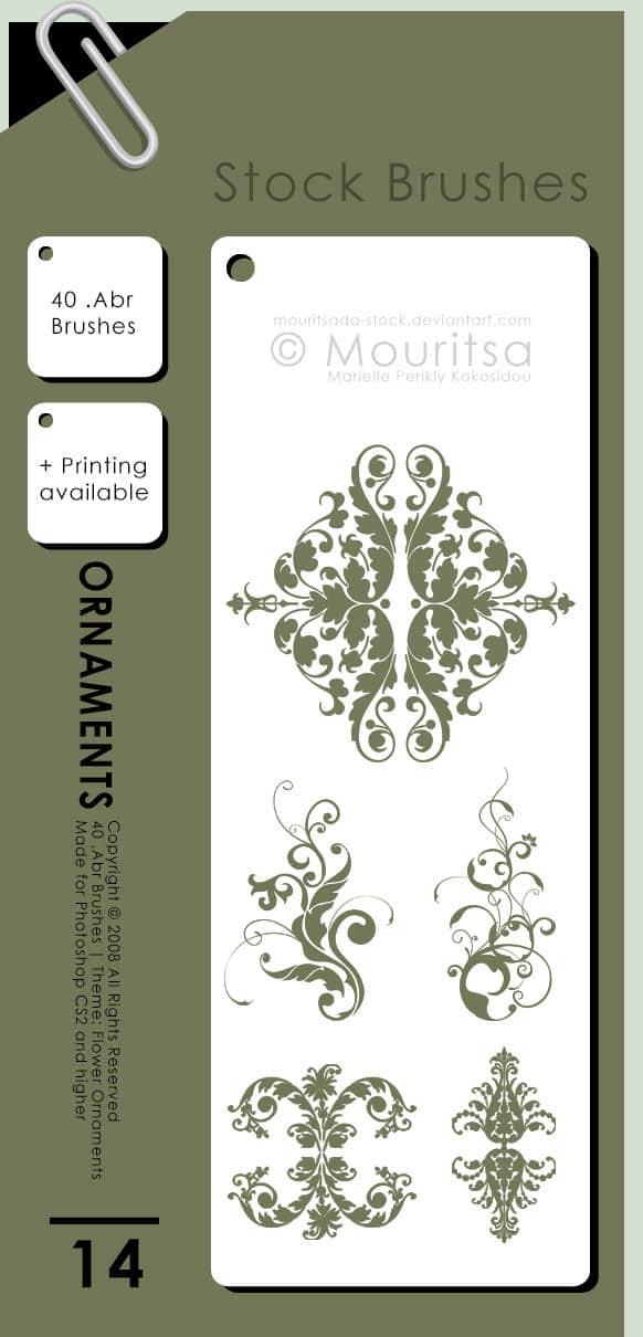 富贵植物花纹图案装饰背景、墙纸印花、墙壁花纹图案photoshop笔刷素材