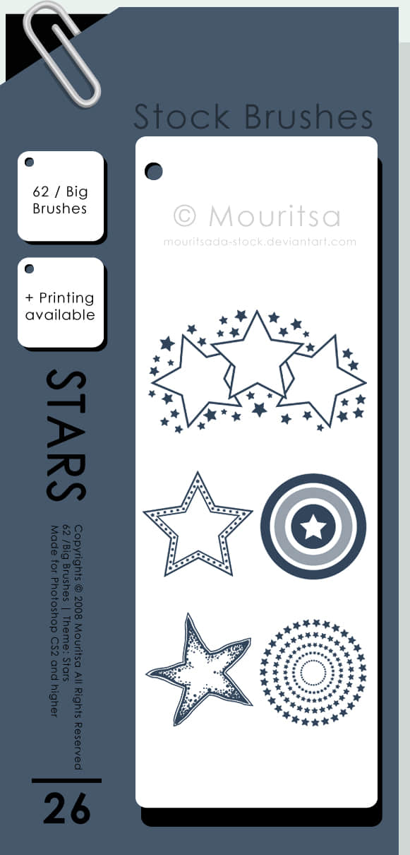 五角星花纹图案PS笔刷素材