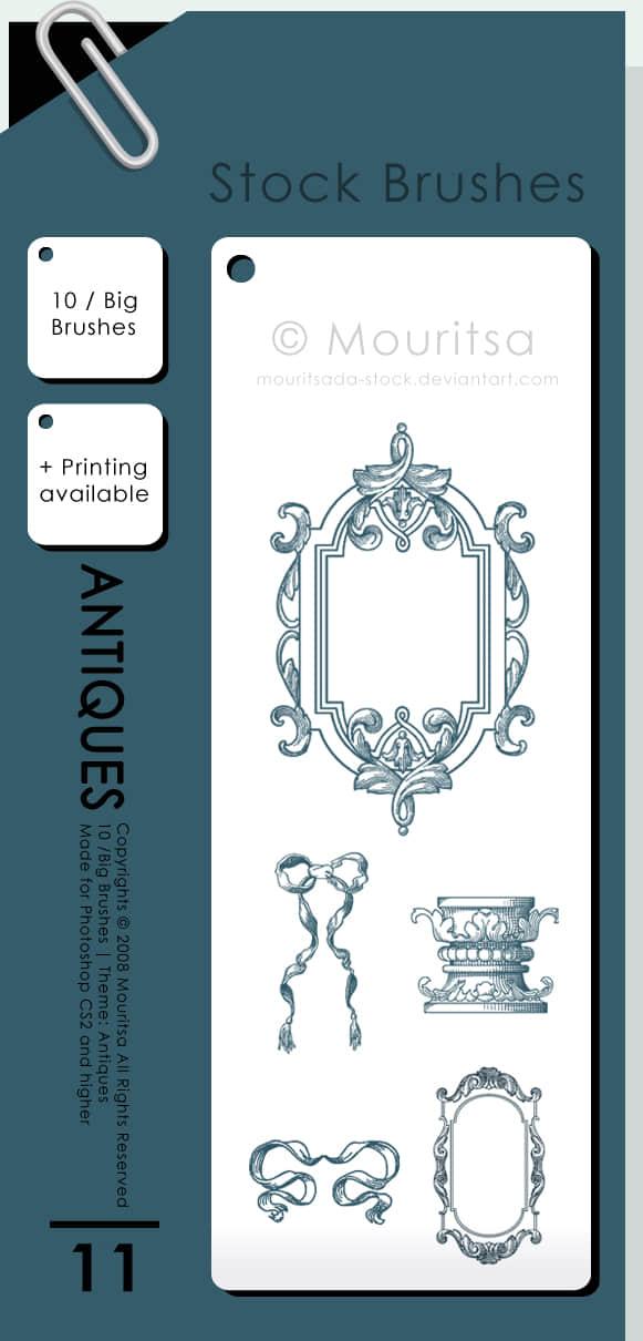 漂亮的手绘式边框、梳妆台、柱子、镜框photoshop笔刷