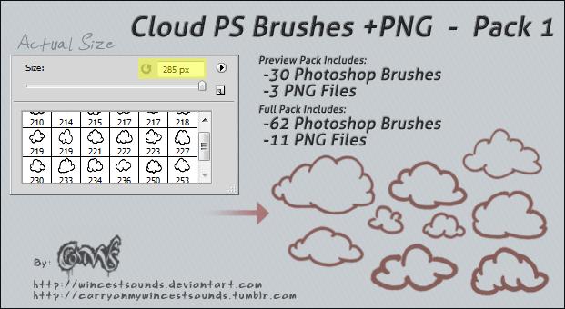 手绘线条云朵、卡通涂鸦云彩photoshop笔刷素材