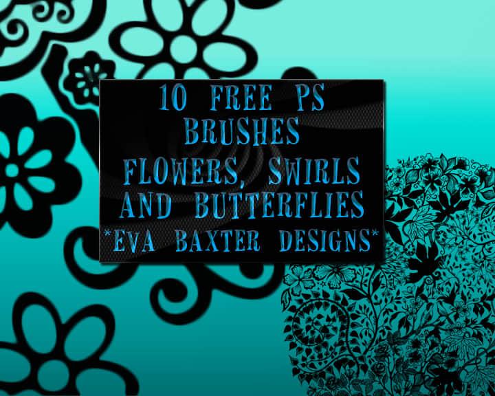镶褶边植物花纹图案PS笔刷素材下载